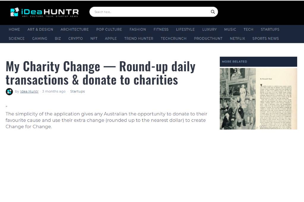 My Charity Change — Round-up daily transactions & donate to charities